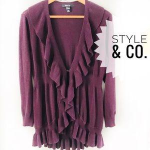 Style & Co. Large Long Ruffled Cardigan Burgundy